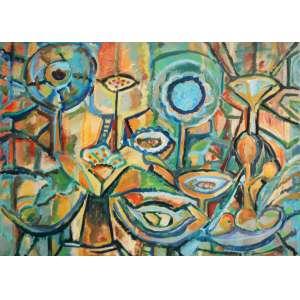Carlos Sorensen, Le Jardim, Óleo sobre tela, 90 alt X 120 larg (cm), acie e verso, Ano: 1999