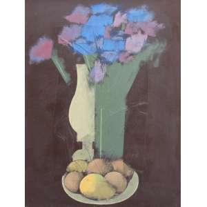 Carlos Scliar, Prato com Frutas, Vinil encerado sobre placa, 75 alt X 55 larg (cm), acid e verso, Ano: 1982