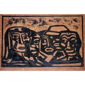Mário Zanini, Figura, Xilogravura, 23 alt X 30 larg (cm), acid, Ano: 1965