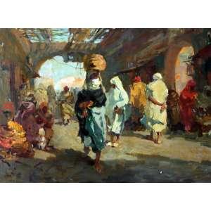 Mario Agostinelli, Feira Árabe, Óleo sobre madeira, 45 alt X 60 larg (cm), acie