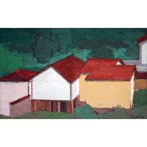 Ivan Marquetti, Paisagem com casas, Óleo sobre tela, 45 alt X 70 larg (cm), acid e verso, Ano: 1982