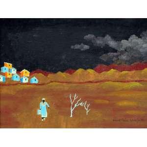Manezinho Araujo, Figura com Casario, Óleo sobre placa, 20 alt X 26 larg (cm), acid, Ano: 1986