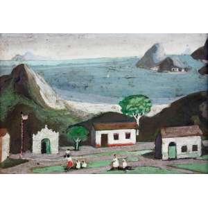 Fúlvio Pennacchi, Aldeia a Beira Mar, Óleo sobre placa, 13 alt X 18 larg (cm), acse e verso -Histórico: Com Selo do Atelier do Artista no Verso