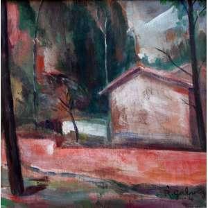 Rafael Galvez, Casario, Óleo sobre madeira, 27 alt X 26 larg (cm), acid e verso, Ano: 1966