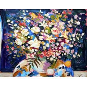 Sou Kit Gom, Flores, Óleo sobre tela, 105 alt X 130 larg (cm), acid e verso, Ano: 2004 -Histórico: Com selo da New York Gallery