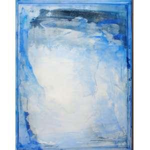 Carlos Araújo, Rosto em Azul, OST colada em madeira naval, 110 alt X 80 larg (cm), acid -Histórico: Obra com Numeração 2636 do no verso .