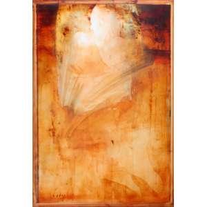 Carlos Araújo, Maternidade em Ocre, Siena e Azul, OST colada em madeira naval, 160 alt X 110 larg (cm), acid -Histórico: Obra com numeração 3297 no verso.