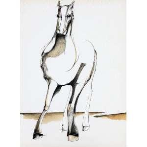Aldemir Martins, Cavalo de Raça, Nanquim sobre papel, 72 alt X 49 larg (cm), acid, Ano: 1977 -Histórico: Com Certificado de autenticidade do próprio Pintor