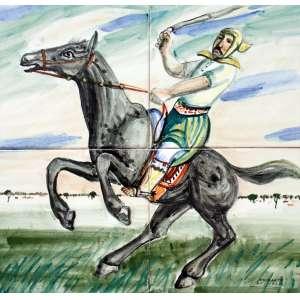 Alfredo Volpi, Cavaleiro com Laço, Azulejo, 30 alt X 30 larg (cm), acid -Histórico: Coleção Isaac Krasilchik
