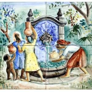 Alfredo Volpi, Fonte Mulheres e Crianças, Azulejo, 30 alt X 30 larg (cm), acie