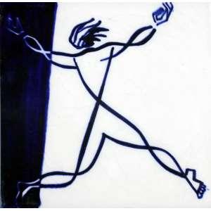Cândido Portinari, Figura, Azulejo, 15 alt X 15 larg (cm), acse -Histórico: Década de 40