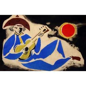 Aldemir Martins, Cangaceiro Tocando Violão, Guache, 14 alt X 21 larg (cm), acid, Ano: 1953 -Histórico: Com Certificado de autenticidade do próprio Pintor
