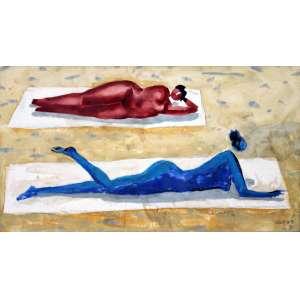 Héctor Carybé, Tomando Sol, Vinil encerado sobre placa, 21 alt X 35 larg (cm), acid, Ano: 1990