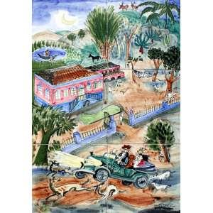 Alfredo Volpi, Carybe - Casarão com Carro, Azulejo, 45 alt X 30 larg (cm), acid