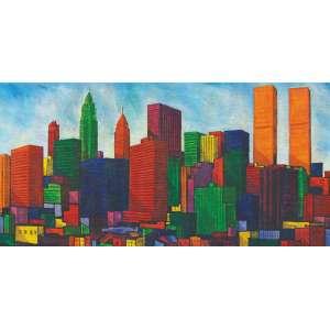 Cláudio Tozzi, New York - Twin Towers, Acrílica sobre tela, 80 alt X 160 larg (cm), acid e verso, Ano: 1984