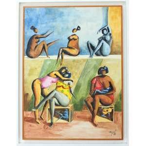 Héctor Carybé, Figuras, Aquarela sobre papel, 50 alt X 35 larg (cm), acid, Ano: 1984