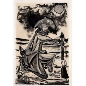 Aldemir Martins, Cangaceiro, Nanquim sobre papel, 48 alt X 31 larg (cm), acid, Ano: 1953 -Histórico: Com Certificado de autenticidade do Pedro Martins