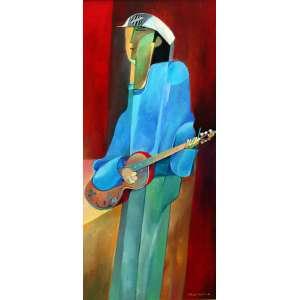 Aldemir Martins, Violeiro, Acrílica sobre tela, 79 alt X 35 larg (cm), acid e verso, Ano: 1976 -Histórico: Com Certificado de autenticidade do próprio Artista
