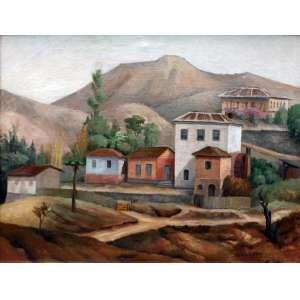 Alfredo Rullo Rizzotti, Paisagem, Óleo sobre tela, 40 alt X 50 larg (cm), acid -Histórico: (Obra Rentelada)