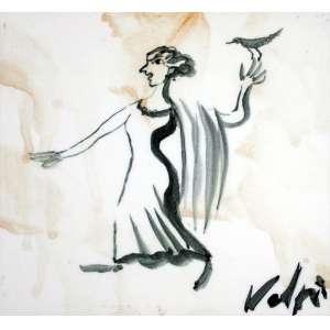 Alfredo Volpi, Mulher com Pombo, Azulejo, 15 alt X 15 larg (cm), acid -Histórico: Ex .Coleção de ISAAC KRASILCHIK
