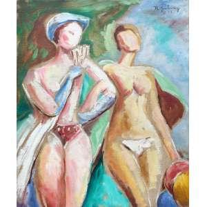Raphael Galvez, Na Praia, Óleo sobre tela, 47 alt X 37 larg (cm), acsd e verso, Ano: 1957 -Histórico: Obra com Dedicatória no Verso