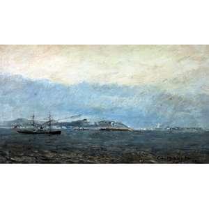 Giovanni Battista Castagneto, Marinha, Óleo sobre madeira, 23 alt X 36 larg (cm), acid, Ano: 1890