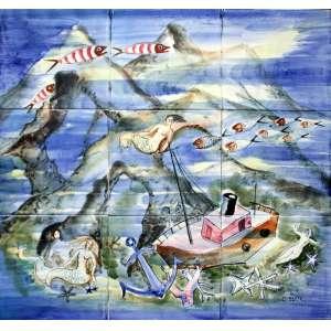 Mário Zanini, Barco Sereia Peixes e Ancora, Azulejo, 46 alt X 46 larg (cm), acid