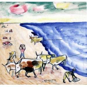Mário Zanini, Paisagem com Bois, Azulejo, 15 alt X 15 larg (cm), ass. centro