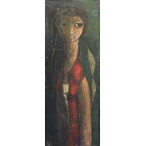 Inos Corradin, Figura Feminina, Óleo sobre tela, 106 alt X 36 larg (cm), acid ( Obra Acompanha Certificado emitido pelo Artista)