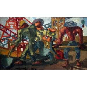 Eugênio de Proença Sigaud, Trabalhadores, Óleo sobre placa, 22 alt X 35 larg (cm), acid e verso, Ano: 1972