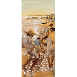 Erico da Silva, Pescadores, Óleo sobre tela, 100 alt X 40 larg (cm), sem assinatura