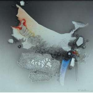 Fukuda, Abstrato em cinza, Acrílica sobre tela, 50 alt X 50 larg (cm), acid e verso
