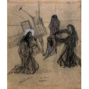 Cândido Portinari, Veronica Enxuga o Rosto de Jesus, Desenho a lápis de cor, 24 alt X 20 larg (cm), acie, Ano: 1953 ( Obra devidamente registrada no projeto Portinari sob tombo: (FCO2791)