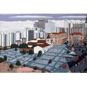 Agostinho Batista de Freitas, Pátio do Colégio, Óleo sobre tela, 70 alt X 100 larg (cm), acid, Ano: 1987