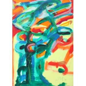 Ivald Granato, Exercício, Acrílica sobre tela, 71 alt X 47 larg (cm), acid e verso, Ano: 1996 (Com selo Sociarte no Verso)