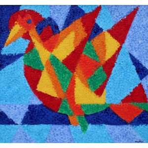 Cláudio Tozzi, Pássaro, Acrílica sobre tela, 40 alt X 40 larg (cm), acid