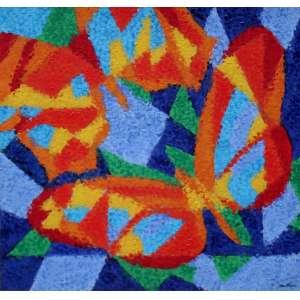 Cláudio Tozzi, Borboletas, Acrílica sobre tela, 40 alt X 40 larg (cm), acid