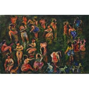 Sérgio Telles, Banhistas de Bali, Óleo sobre tela, 54 alt X 73 larg (cm), acid, Ano: 2011