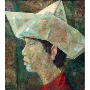 Harry Elsas, Menino com chapéu, Óleo sobre tela s/placa, 91 alt X 79 larg (cm), acie