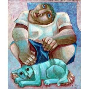 Adélio Sarro, Homem com gato, Óleo sobre tela, 50 alt X 40 larg (cm), acid, Ano: 1986