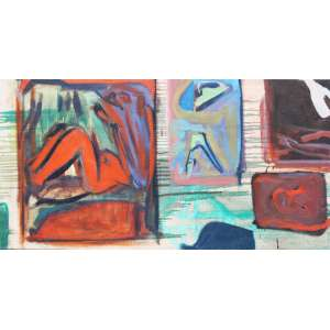 Jorge Guinle, Composição, Óleo sobre tela, 44 alt X 88 larg (cm) -Histórico: Acompanha certificado emitido por Marco Rodrigues
