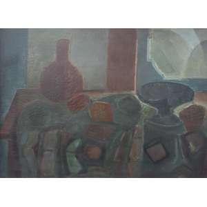 Ivan Marquetti, Natureza Morta com fruteira preta, Óleo sobre tela, 60 alt X 81 larg (cm), acid e verso, Ano: 1971