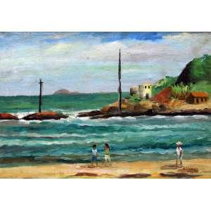 Arnaldo Ferrari, Farol de Itanhaém, Óleo sobre tela, 32 alt X 45 larg (cm), acid, Ano: 1948
