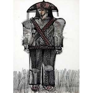 Aldemir Martins, Cangaceiro, Nanquim sobre papel, 22 alt X 16 larg (cm), ass. centro, Ano: 1963 -Histórico: Com Certificado de autenticidade do próprio Pintor