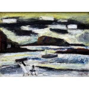 Mário Zanini, Marinha, Óleo sobre madeira, 37 alt X 49 larg (cm), acid, Ano: 1965