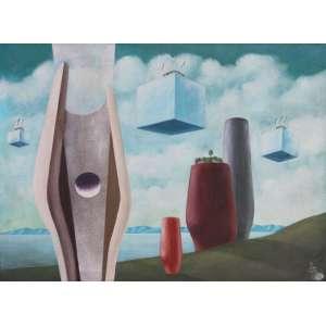 Walter Lewy, Composição Surreal, Óleo sobre tela, 60 alt X 81 larg (cm), acid, Ano: 1984