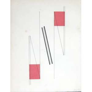 Ivan Serpa, Abstrato, Técnica mista sobre papel, 22 alt X 16 larg (cm), acid, Ano: 1953
