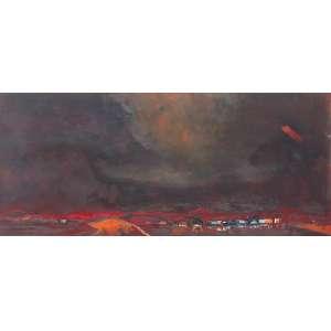 Jenner Augusto, Alagados em Fundo Vermelho, Óleo sobre tela, 32 alt X 75 larg (cm), acid e verso, Ano: 1966