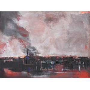 Jenner Augusto, A Fumaça, Óleo sobre tela, 120 alt X 160 larg (cm), acid e verso, Ano: 1969