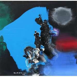 Manabu Mabe, Composição em Azul, Óleo sobre tela, 51 alt X 51 larg (cm), acid e verso -Histórico: Apresenta Certificado de Autenticidade emitido pela GALERIA ANDRE.